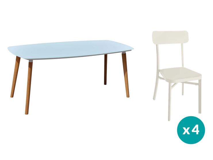 1 table + 4 chaises coloris crème