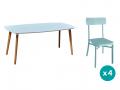 1 table + 4 chaises coloris bleu