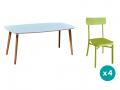 1 table + 4 chaises coloris vert
