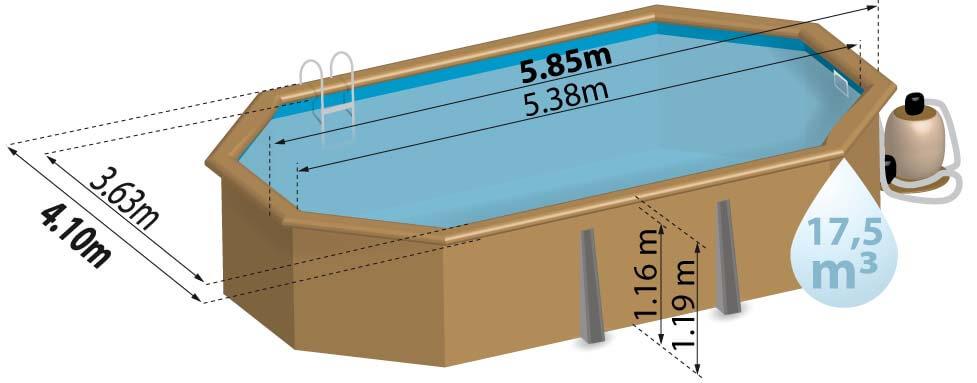 Schéma de présentation de la piscine en bois BOGOTA