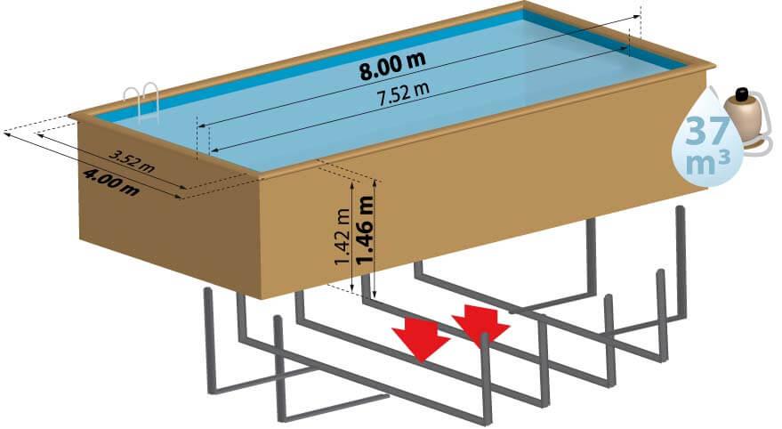Schéma de présentation de la piscine en bois BRAGA
