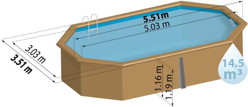 Schéma de présentation de la piscine en bois CANNELLE