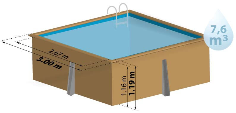 Piscine bois carra quip e sunbay for Piscine 3x3