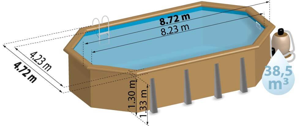 Schéma de présentation de la piscine en bois LARANJA