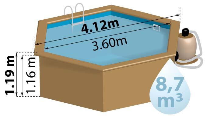 La piscine bois VANILLE a un diamètre de 4,12m et une hauteur de 1.19m.