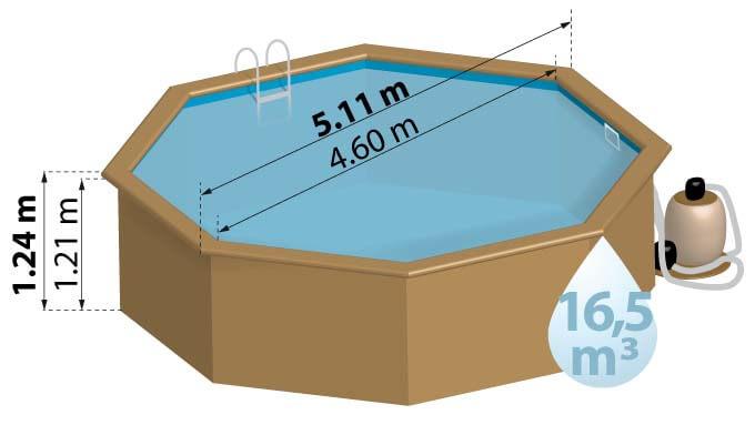 La piscine bois VIOLETTE a un diamètre de 5,11m et une hauteur de 1,24m