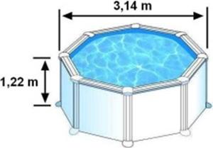 Les dimensions extérieures de la piscine BORA BORA sont de 3,14m sur 1,22m de hauteur