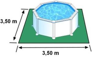 L'espace nécessaire au sol pour la piscine BORA BORA est de 12,25 m2