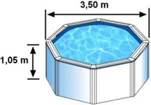 L'espace intérieur de nage de la piscine BORA BORA est de 3,50m sur 1,05m de hauteur
