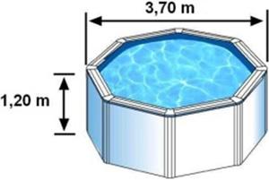 Les dimensions extérieures de la piscine BORA BORA sont de 3,70m sur 1,20m de hauteur