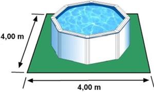 L'espace nécessaire au sol pour la piscine BORA BORA est de 16 m2