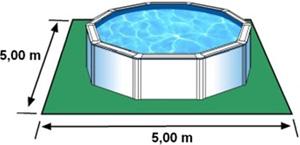 L'espace nécessaire au sol pour la piscine BORA BORA est de 25 m2