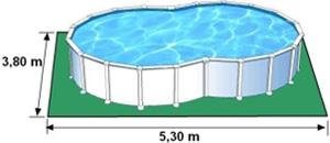 L'espace nécessaire au sol pour la piscine VARADERO est de 20,14 m2