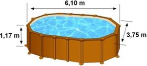 L'espace intérieur de nage de la piscine AMAZONIA est de 6,10m de long, 3,75m de large et 1,17m de haut