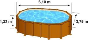 Les dimensions extérieures de la piscine AMAZONIA sont de 6,10m de long, 3,75m de large et 1,32m de haut