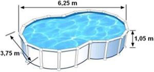 L'espace intérieur de nage de la piscine VARADERO est de 6,25m de long, 3,75m de large et 1,05m de haut