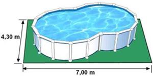 L'espace nécessaire au sol pour la piscine VARADERO est de 30,1 m2