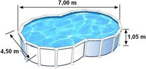 L'espace intérieur de nage de la piscine VARADERO est de 7m de long, 4,50m de large et 1,05m de haut