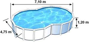 Les dimensions extérieures de la piscine VARADERO sont de 7,1m de long, 4,75m de large et 1,2m de haut