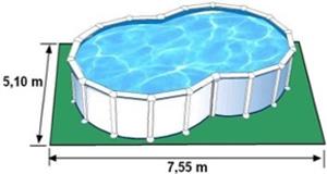 L'espace nécessaire au sol pour la piscine VARADERO est de 38,505 m2