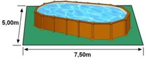 L'espace nécessaire au sol pour la piscine AMAZONIA est de 37,5 m2