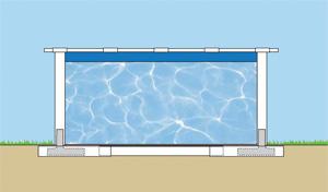 La piscine AMAZONIA est renforcée par des poteaux en acier à enterrer