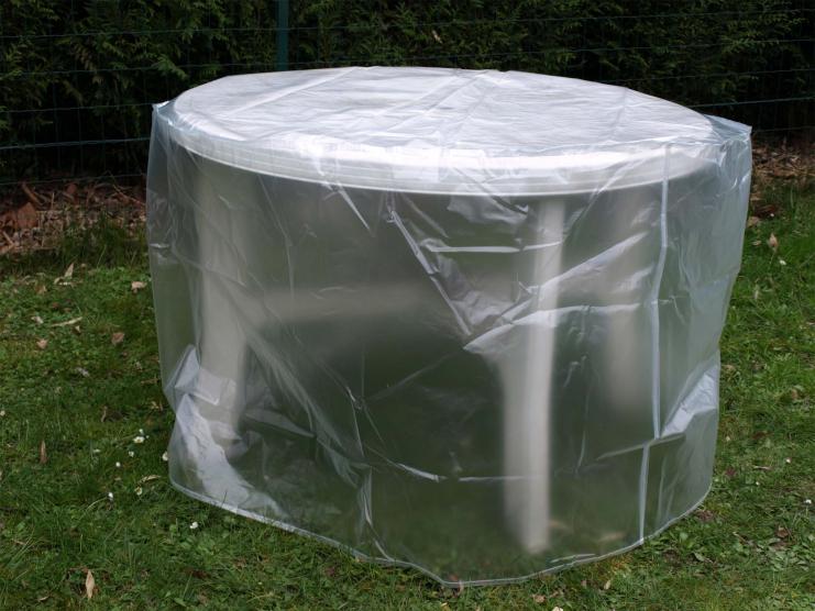 Housse de protection translucide table ronde Ø120 cm
