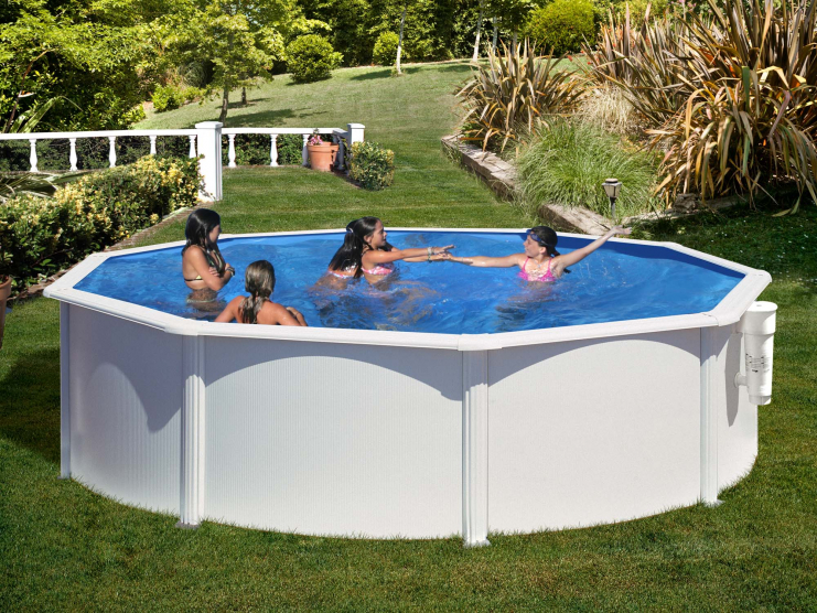piscine acier ronde h 1 32 m blanche azores. Black Bedroom Furniture Sets. Home Design Ideas