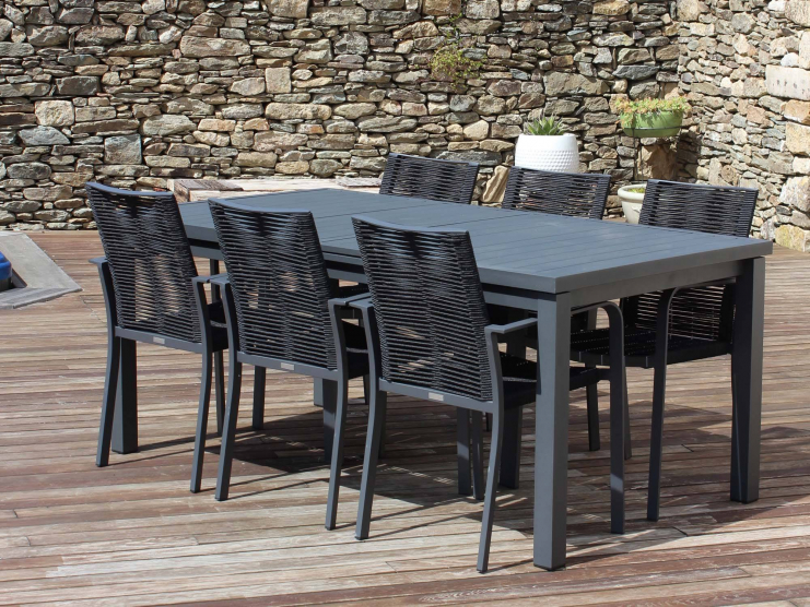 Salon de jardin CORDOBA antracite avec fauteuils en cordes