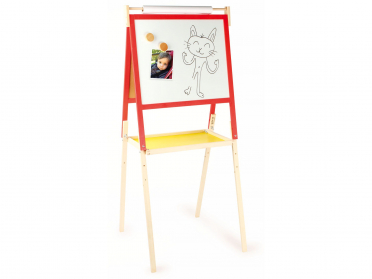 Tableau d'écolier en bois double face craies et feutres