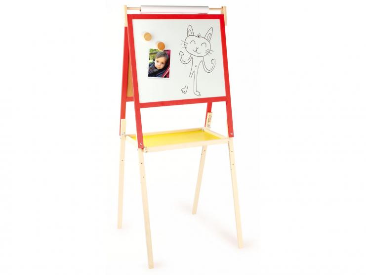 Tableau d\'écolier en bois - Tableau double face craie et feutre