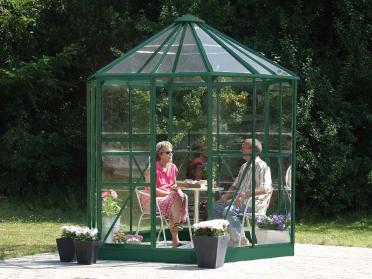 Jardin d'hiver verre trempé 3mm Lams HERA Ø 2,56 m / 4,5 m² avec base - Vert