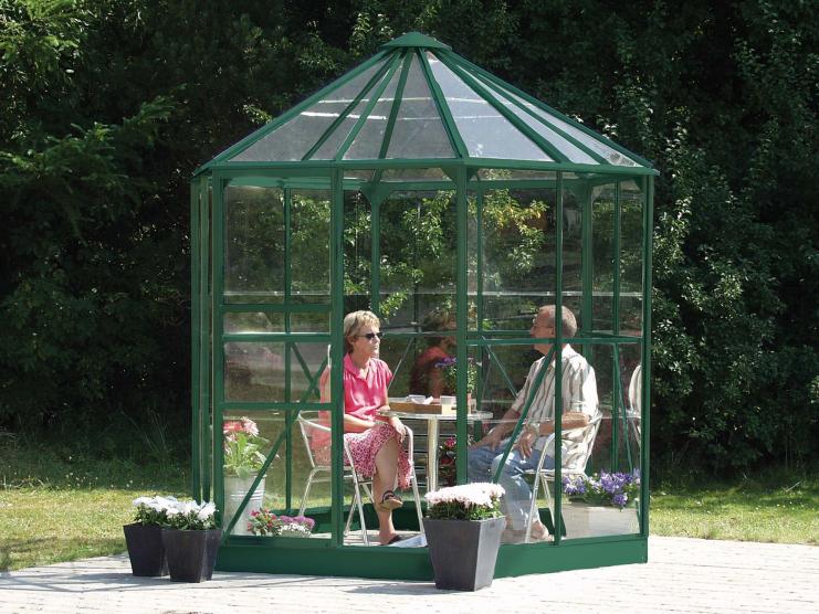 Jardin d\'hiver verre trempé 3mm Lams HERA Ø2,56 m-4,5m² et base - vert