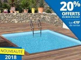 piscine en bois carré 3,30m x 3,30m