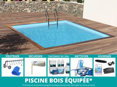 piscine bois carré toute équipée - sunbay