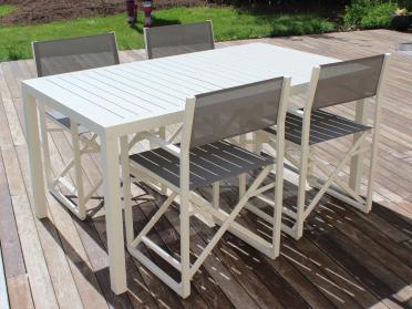 Salon de jardin table rectangulaire avec lattes + chaises DIRECTEUR