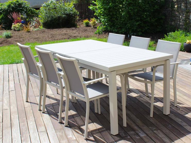 Salon repas beige CORDOBA avec fauteuils en Textilène®