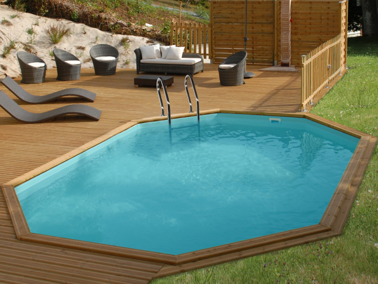 Piscine bois octogonale aquablue sunbay 6 36 x 4 10 m x for Piscine bois sunbay