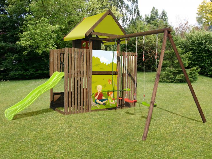 Aire de jeux en bois Soulet Balançoire en bois portique bois