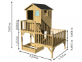 Maisonnette en bois brut sur 2 niveau avec bac à sable