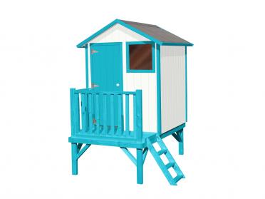 Maisonnette sur pilotis en bois pour enfant.
