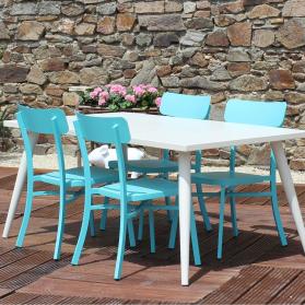 Salon de jardin MICA en aluminium - Crème et bleu