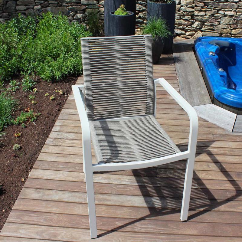Salon de jardin CORDOBA couleur beige / sable avec fauteuils en cordes