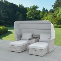 Canapé de jardin détente VITORIA en aluminium et résine tressée