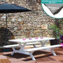 Table + bancs en aluminium