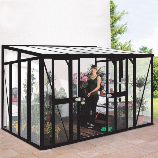 Belle serre en verre trempé 3mm Lams HELENA 8,85 m² avec base - Noir
