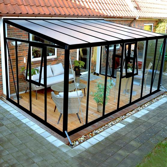 Jardin d\'hiver verre trempé 3mm Lams HELENA 12,20 m² avec base - Noir