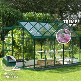 Serre en verre trempé 3mm Lams VENUS 6,20m² avec base - Verte