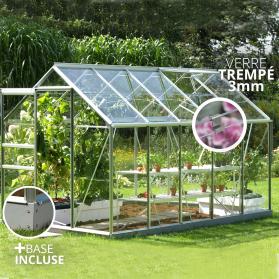 Serre en verre trempé Lams VENUS 6,20m² avec base - Alu