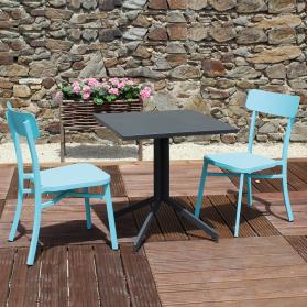Salon de jardin MICA en aluminium anthracite - bleu